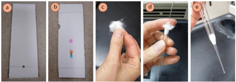 Figura 2: a) Tinte púrpura manchado en la línea de base de una placa de TLC, b) después de la elución, c-e) Inserción de algodón en la punta de la pipeta.