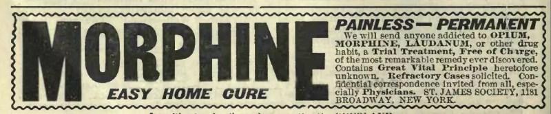 Anuncio para curar la adicción a la morfina, alrededor de 1900
