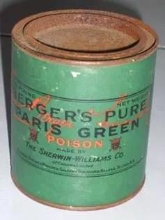 Lata de verde de Paris, compuesto toxico a base de arsénico