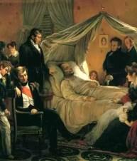 Esta pintura altamente estilizada de Carl von Steuben representa a Napoleón en su lecho de muerte, rodeado de miembros de su corte y de su casa.