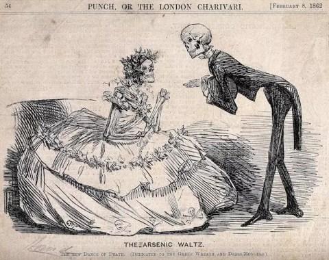 """Dos esqueletos vestidos de dama y caballero en """"El Vals del Arsénico"""". Grabado, 1862. Imagen cortesía de la Biblioteca Wellcome de Londres."""