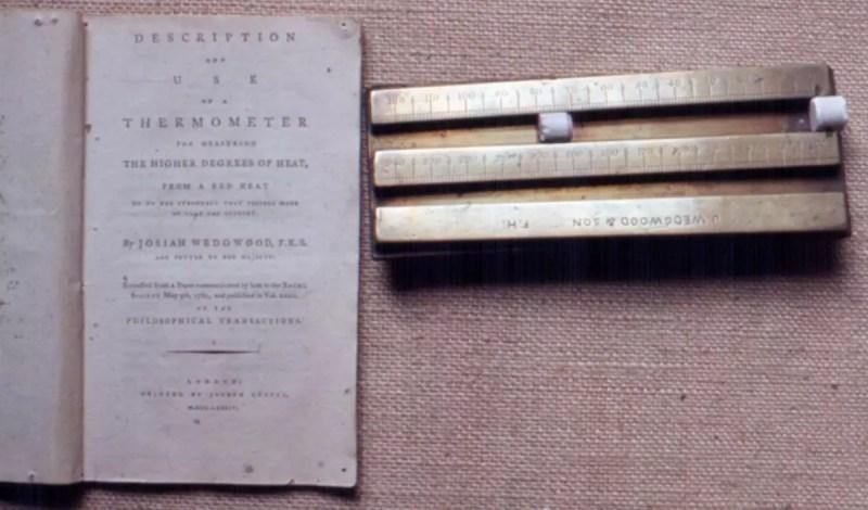 Escala de Wedgwood junto con sus cilindros e instrucciones