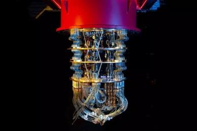 Un ordenador cuántico en el laboratorio de Google en California Google AI Quantum, foto de James Crawford