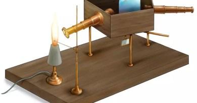 (Dibujo del espectroscopio de Kirchhoff, fuente https://www.beautifulchemistry.net/kichhoff)