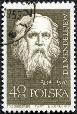 Sello postal de Polonia con la efigie de Dmitri Mendeleev - 1959