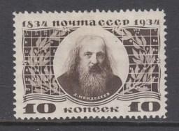 Sello postal soviético en honor a Mendeleev - 1934
