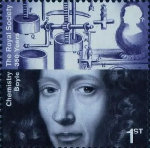Estampilla o sello postal con la efigie de Robert Boyle, Gran Bretaña, 2010
