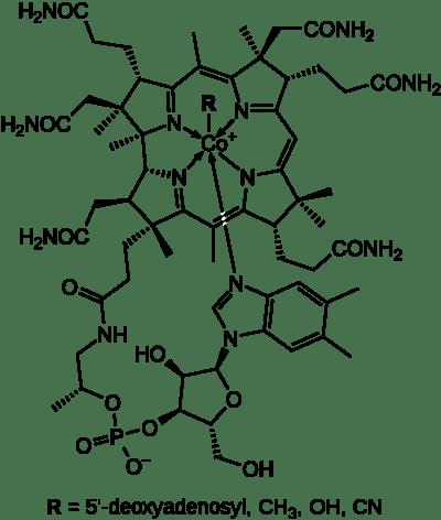 Estructura química de la vitamina B12 (cobalamina).