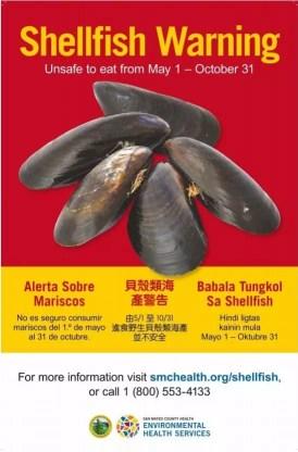 Poster de advertencia sobre la recolección de mariscos