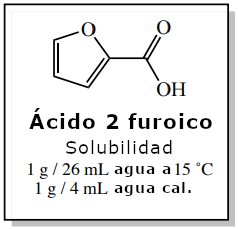 Figura 5: Datos de solubilidad del ácido 2-furoico (Índice Merck).