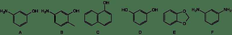 Los acopladores son compuestos químicos que definen el color del tinte. Aquí se muestran tres acopladores rojos (A, B, C), dos acopladores amarillo-verdosos (D, E) y un acoplador azul (F).