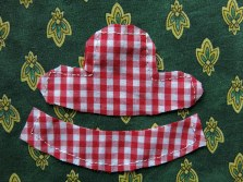 """The """"T"""" shape is the crown, the curved shape is the brim...Stitch the two crown pieces together along every straight edge, then clip into inner corners and trim the outer corners. Stitch the brim pieces together along the longer curved edge and the two straight edges."""