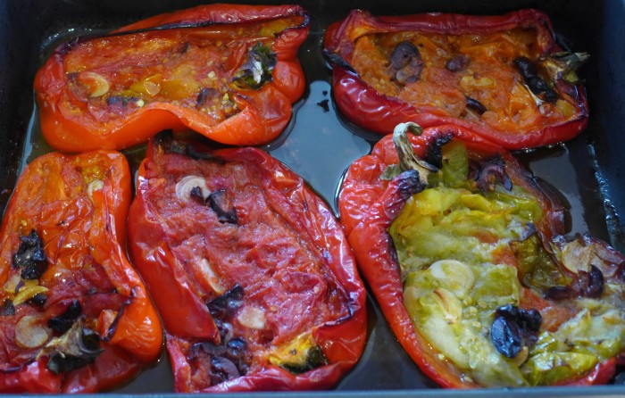 roasted capsicum with tomato, olives and garlic