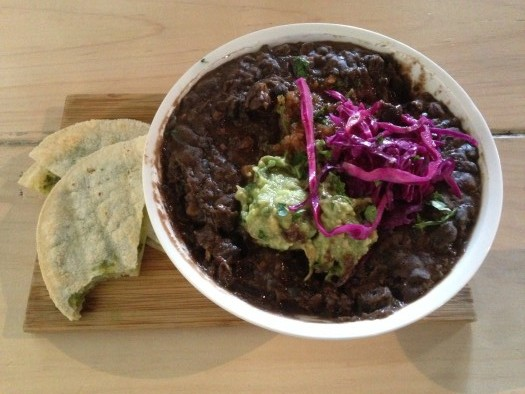 blackbeans, guacamole and tortillas