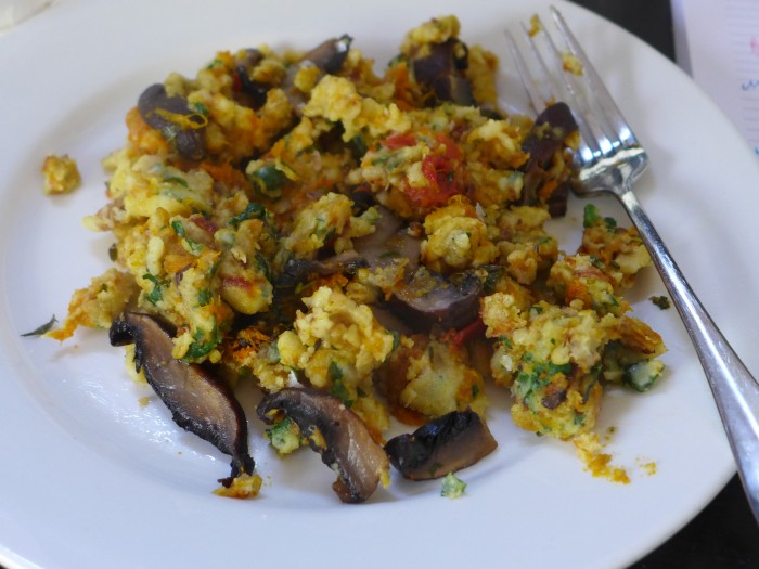 chickpea flour and roasted veggie scramble