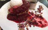 pancakes with raspberies and coconut yoghurt