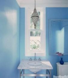 Painting Bathrooms - Blue powder room - quinju.com
