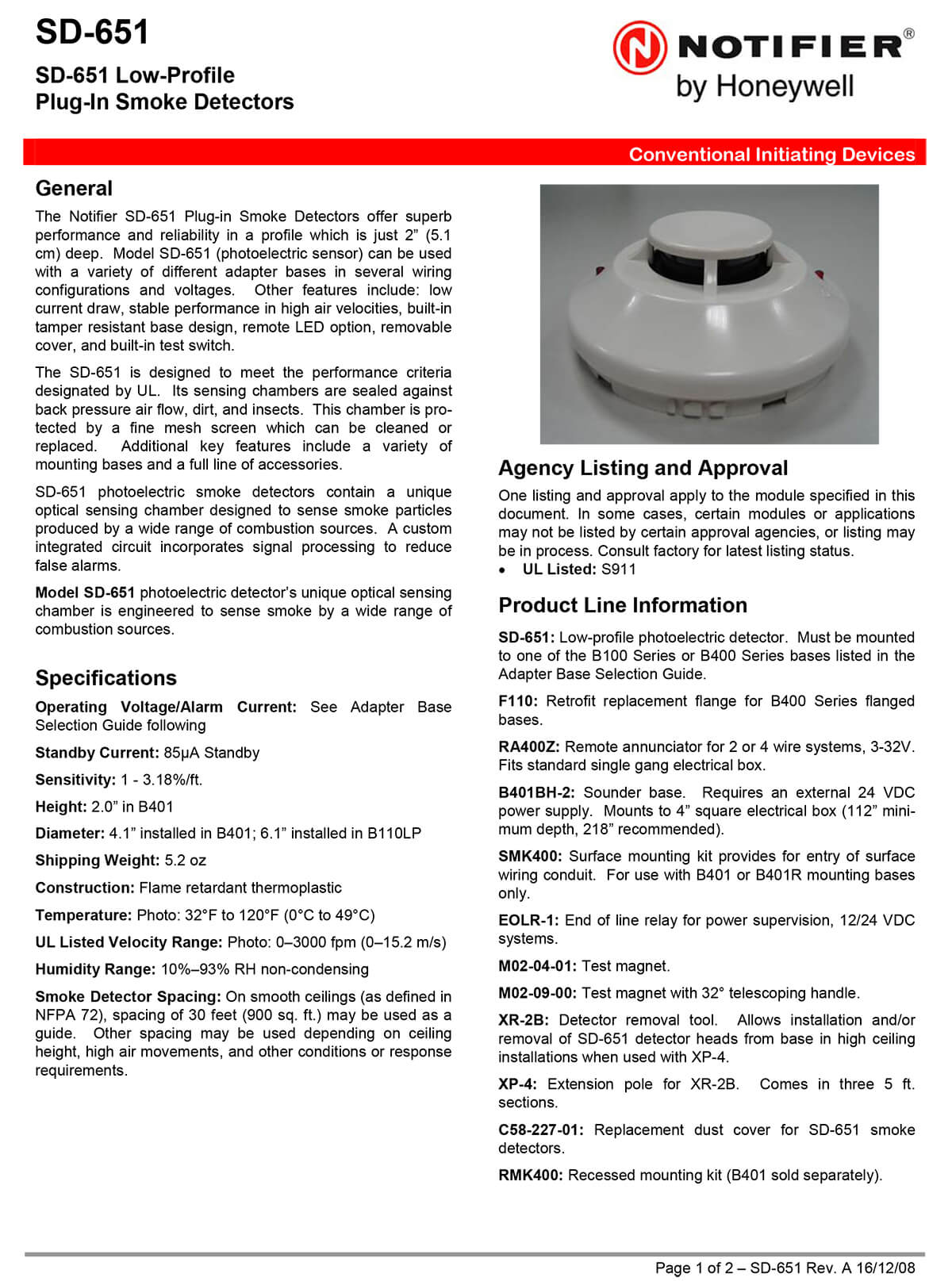 Low-Profile Plug-In Smoke Detectors SD-651