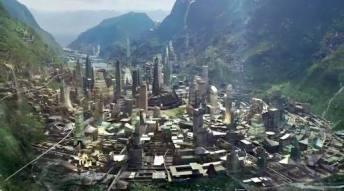Wakanda. Queria uma imagem mais aproximada das cidades, mas não encontrei. Sabia que a arquitetura foi inspirada na arquitetura dos antigos imperios de Mali, Gana e Songhai?