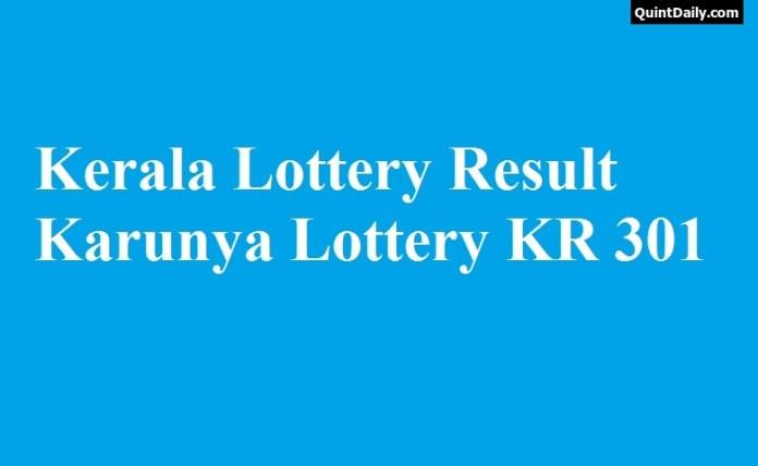 Kerala Lottery Result Karunya Lottery KR 301