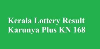 Kerala Lottery Result Karunya Plus KN 168