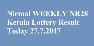 Nirmal WEEKLY NR28 Kerala Lottery Result Today 27.7.2017