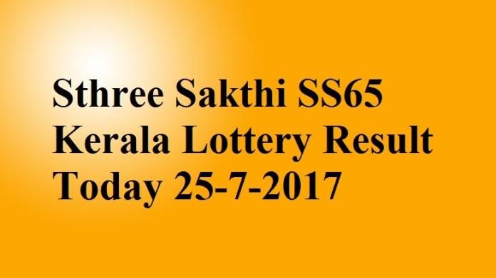 Sthree Sakthi SS65 Kerala Lottery Result Today 25-7-2017