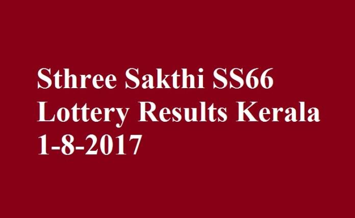 Sthree Sakthi SS66 Lottery Results Kerala 1-8-2017