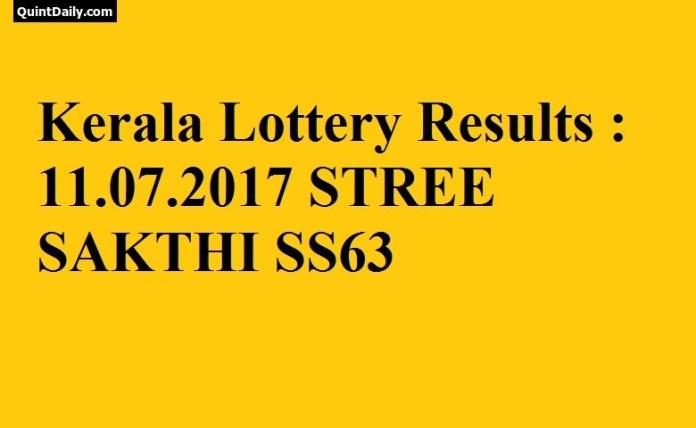 Kerala Lottery Result, STRHEE SAKTHI SS63 Lottery Result