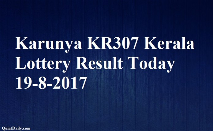 Karunya KR307 Kerala Lottery Result