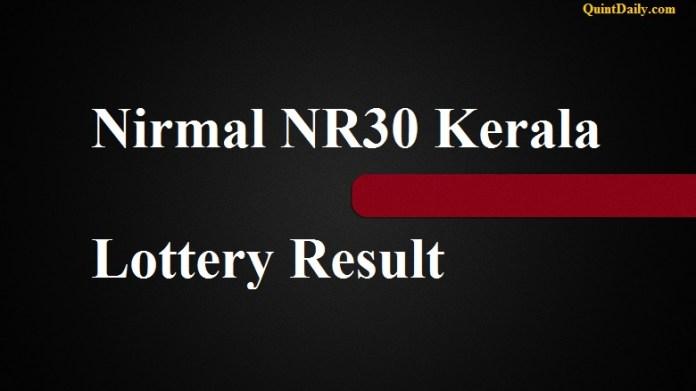 Nirmal NR30 Kerala Lottery Result