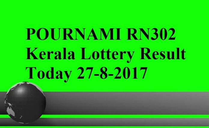 POURNAMI RN302 Kerala Lottery Result Today 27-8-2017
