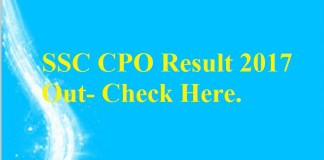 SSC CPO Result 2017