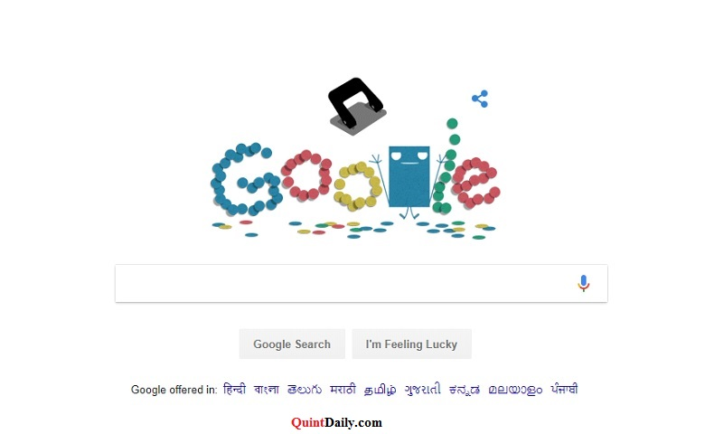 Google honours the humble hole puncher with a doodle