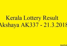 Kerala Lottery Result Today Akshaya AK337