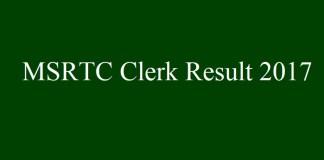 MSRTC Clerk Result 2017