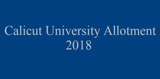 Calicut University Allotment 2018