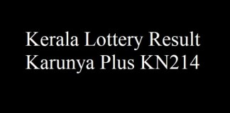 Kerala Lottery Result 24.5.2018 Karunya Plus KN214