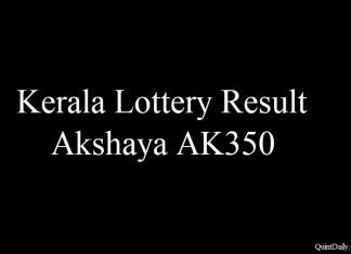 Kerala Lottery Result 20.6.2018 Akshaya AK350