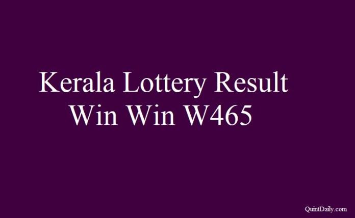 Kerala Lottery Result 18.6.2018 Win Win W465
