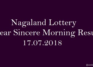 Nagaland Lottery Dear Sincere Morning Result 17.07.2018 quintdaily.com