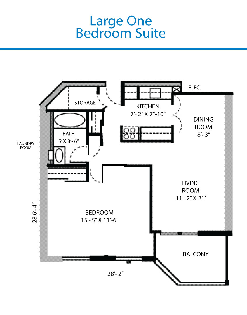 Floor Plan of the Large One Bedroom Suite  Quinte Living