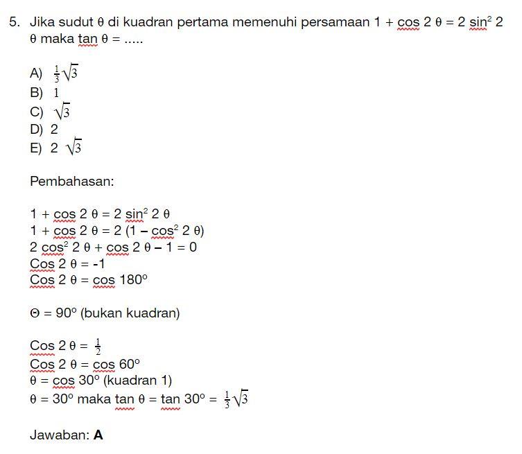Contoh Soal Trigonometri Kelas 10 Smk