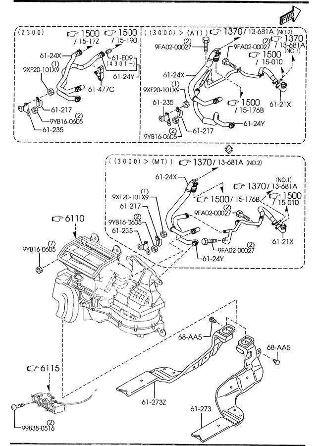 2003 2004 2005 2006 2007 2008 Mazda6 3 0L 3 0 Heater Hose