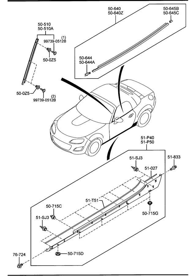 2006-2011 Mazda MX-5 Miata Moulding Body Genuine OEM NEW