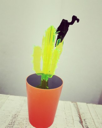 Unkillable houseplants #2 - Cactus with Vulture (experimental piece)