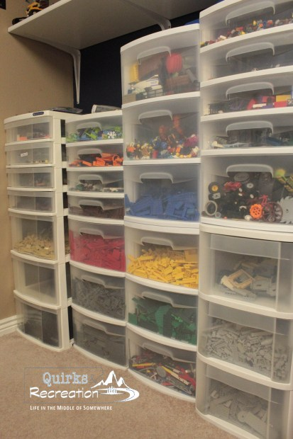 LEGO tall bins and drawers, organization