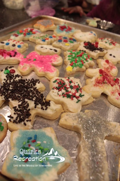 decorated sugar cookies on pan