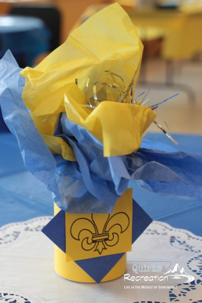 Table - centerpiece - Blue and Gold Banquet