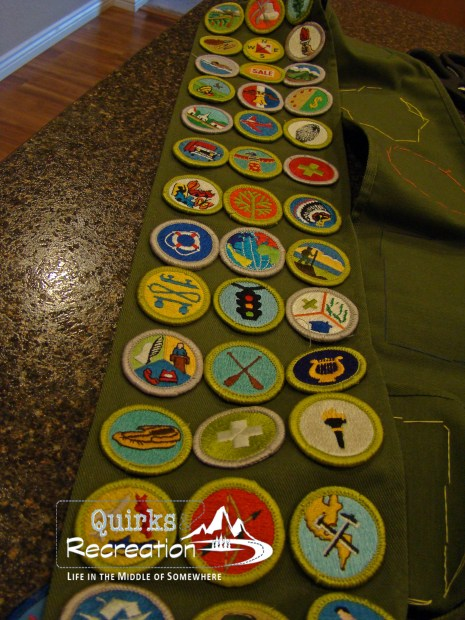 Boy Scout Merit Badges on Sash